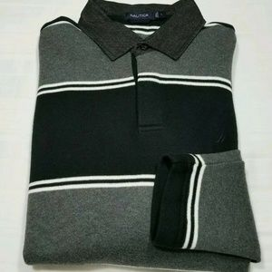 NAUTICA Mens Large Thick Striped Long Sleeve Shirt